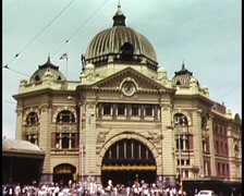 FLINDERS STREET STATION (Melbourne 1980) Stock Footage