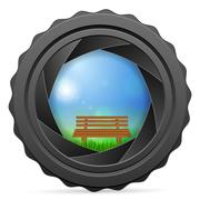 Camera shutter with bench Stock Illustration