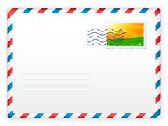 envelope and postage stamp 2 - stock illustration