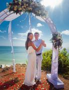 Wedding couple just married Stock Photos