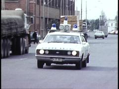 EARLY 1980S AUSTRALIAN POLICE CAR WITH FLASHING LIGHTS Stock Footage