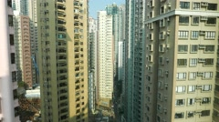Static view to the midlevel of the house-skyscrapers apartments Stock Footage