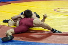 Competitions in Greco-Roman wrestling in Orenburg, Russia Stock Photos