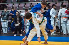 Judo competitions among boys, Orenburg, Russia Stock Photos
