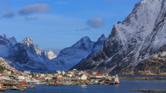 Reine, fishing village, Lofoten, Norway Stock Footage