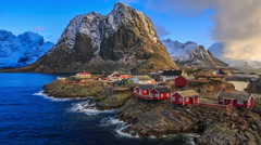 Reine a fishing village, located above the Arctic Circle. Stock Footage