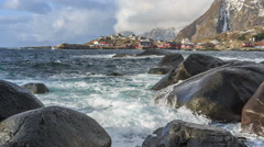 Picturesque fishing villages of Hamnøy, Reine, Sørvågen, Moskenes, Å, Stock Footage