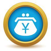 Gold yen purse icon - stock illustration