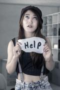 Stock Photo of Hopeless girl need a help