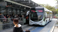 Taichung BRT, Taichung Railway Station Stop. HD Stock Footage