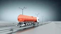 Orange tanker gas truck on a highway. Back view. Looping background. Stock Footage