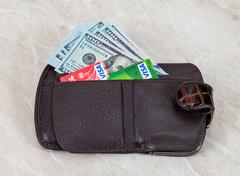 Wallet with american dollars and credit cards - stock photo