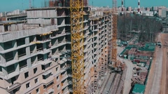 Flying Above Unfinished Buildings - stock footage