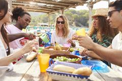 Group Of Young Friends Enjoying Lunch Outdoors - stock photo