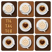 Tic-Tac-Toe of cappuccino and latte - stock illustration
