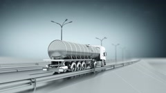 Monochrome tanker gas truck on a highway. Back view. Looping background. - stock footage