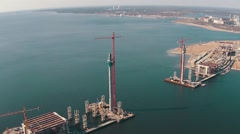 Flying Above Unfinished Bridge - stock footage