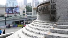 Waterfall-fountain on lower Peak Tram Terminal station Stock Footage