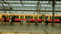 Leaving (roofed) train station Stock Footage