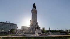 The Marquess of Pombal Square with sunset which is an important roundabout in Stock Footage