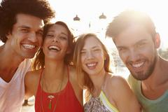Group Of Young Friends On Summer Holiday Together Stock Photos