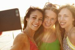 Female Friends On Holiday Together Taking Selfie Stock Photos