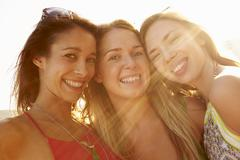 Group Of Female Friends On Summer Holiday Together Stock Photos
