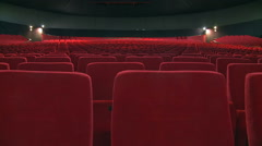 Empty red velvet seats in theater. Stock Footage