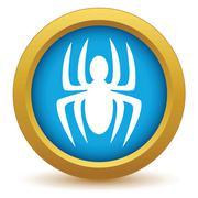 Gold spider icon - stock illustration