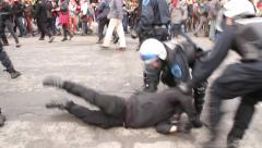 1080p 24fps - Riot officers charge group of rioters violently - HD 1080p Stock Footage