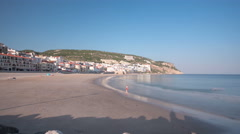 Beach at Small town of Sesimbra, Portugal, panorama timelapse hyperlapse Stock Footage