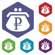 Rouble purse rhombus icons Stock Illustration