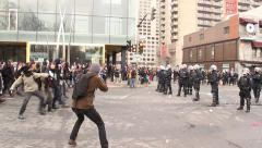 1080p 24fps - Rioters chant and throw snowballs at police - HD 1080p Stock Footage