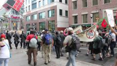 1080p 24fps - Protesters and police line walking towards each other - stock footage