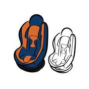 Car seat sketch - stock illustration