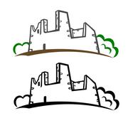 Castle ruins symbol - stock illustration