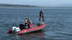 Whale Researchers, Scientists, Zodiac Stock Footage