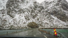 Scenic road along the coast Norway Stock Footage
