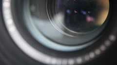 Old camera lens taking a picture close-up Stock Footage