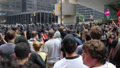 1080p 24fps - Demonstrators chanting at police line in city core - HD 1080p - stock footage