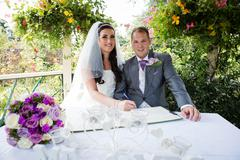 Signing the Wedding Register Stock Photos