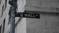 Wall Street sign in lower Manhattan, New York Stock Footage