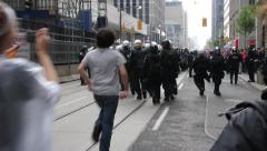 1080p 24fps - Protesters tease and imitate riot police unit - HD 1080p Stock Footage