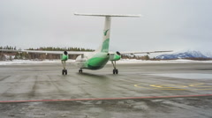 The aircraft before takeoff at the airport in Norway Stock Footage