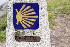 0 km in route to Santiago, cope of Finisterre, La Coruna - stock photo