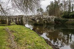 Roman bridge in Brandomil, Camino de Santiago, A Galicia Stock Photos