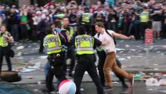 1080p 24fps - Police officer delivers elbow strikes to rioter - HD 1080p Stock Footage
