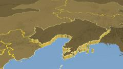 Liaoning - China province extruded. Set of animations. Stock Footage