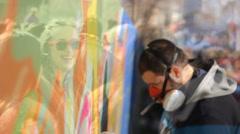 Art Street art people and urban wall graffiti Stock Footage