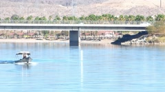 Fishing Boat Speeding Along the Colorado River in Laughlin Bullhead City Stock Footage